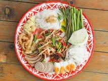 Papaya salad, Som Tum. In Thai style restaurant stock photography