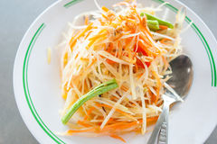 Papaya salad. Som Tum, Thai papaya salad. Thai food stock photo