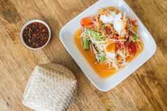 Papaya salad som tum thai traditional food. Papaya salad som tum the thai traditional food royalty free stock photos