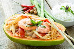 Papaya salad. Somtam or papaya salad, Thai food royalty free stock images