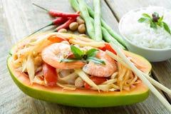 Papaya salad. Somtam or papaya salad, Thai food Royalty Free Stock Images