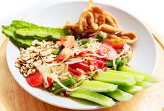 Papaya salad, Somtam in thai food.  stock photo