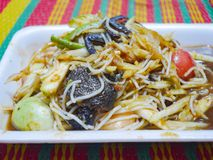 Papaya salad. Or somtam. Thai food is famous around the world. Spicy foods include pickled fish, crab, cucumber, long beans,rice vermicelli noodles, papaya stock photo
