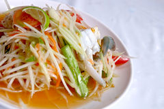 Papaya salad somtum. Hot and spicy papaya salad,somtum, with fresh crab Stock Images