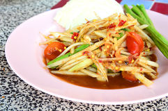 Papaya Salad (Somtum). Delicious and tradition Thai foods Royalty Free Stock Image
