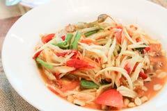Papaya salad or somtum. Local food of Thailand stock photos