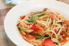 Papaya salad or somtum. Local food of Thailand royalty free stock photo