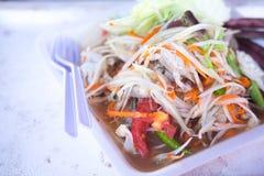 Papaya salad or somtum local food of Thailand. Green papaya salad or somtum local food of Thailand royalty free stock photos