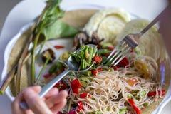 Papaya salad or somtum. Papaya salad or somtum famous traditional Thai food Stock Photo