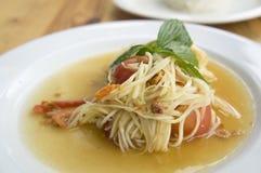 Papaya salad somtum thai asian cuisine vegetable Stock Photography