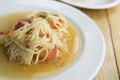 Papaya salad somtum thai asian cuisine vegetable Stock Photos