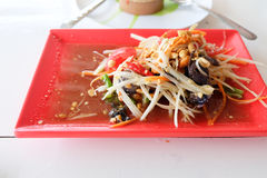 Papaya salad or Somtum thai is popular food. Of Thailand royalty free stock photos