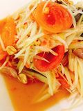 Papaya salad. Somtum or papaya salad is Thaifood Stock Photo