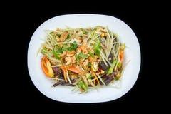 Papaya salad spicy with crabs and dry small shrimps - Tam Korat Royalty Free Stock Photos