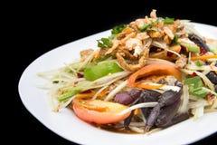 Papaya salad spicy with crabs and dry small shrimps - Tam Korat Royalty Free Stock Image