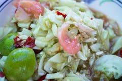 Papaya salad, spicy flavor Thailand delicious local food. Delicious Royalty Free Stock Photos