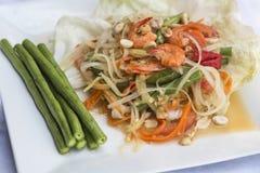 Papaya Salad. Spicy Green papaya salad (somtam) , famous Thai food Stock Photos