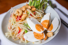Papaya salad. Spicy with salted eggs Stock Photography