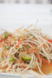 Papaya salad. Spicy with salted eggs royalty free stock photography
