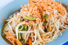 Papaya salad spicy. Tasty thailand Royalty Free Stock Photography