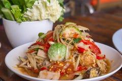Papaya salad of spicy Thai food Stock Images