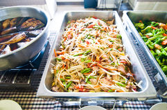 Papaya salad and stir-fried vegetables Stock Photos