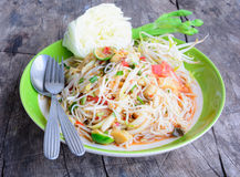 Papaya Salad. On table at bangkok thailand Royalty Free Stock Images