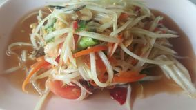 Papaya salad. Tastes spicy hot taste delicious Royalty Free Stock Photography