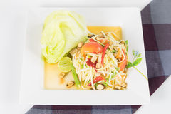 Papaya Salad, Thai call. Som tum the most famous thai salad combination of green papaya, green beans, carrots, garlic, fresh chili, cherry tomatoes and carrots Stock Images