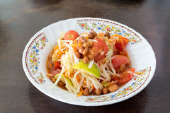Papaya Salad, Thai call Som tum the most famous thai salad com. Papaya Salad, Thai call Som tum Royalty Free Stock Photo
