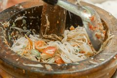 Papaya salad, papaya salad, papaya salad, Thai cooking ingredients and peeled papaya to serve as food and for sale to consumers. royalty free stock photos