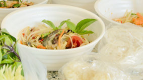 Papaya salad Thai cuisine spicy delicious : call. Green papaya salad Thai cuisine spicy delicious : call SOM TAM Royalty Free Stock Photo