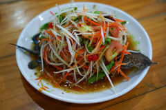Papaya salad Thai cuisine spicy delicious Royalty Free Stock Photo