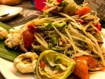 Papaya salad Thai. Famous Thai food Royalty Free Stock Photo