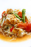 Papaya salad, Thai food. Papaya salad, popular of thai food Royalty Free Stock Photos