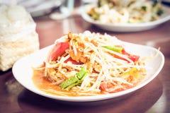 Papaya salad Thai food. Papaya salad of Thai food Royalty Free Stock Photography
