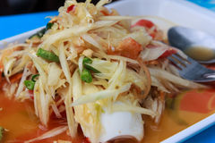Papaya Salad. The Thai Food Royalty Free Stock Photos