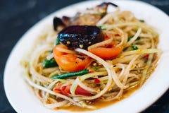 Papaya Salad famous thai food. Papaya Salad Thai food delicious Royalty Free Stock Images