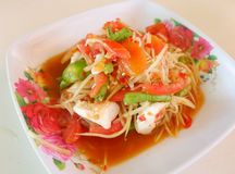 Papaya salad thai food. Thai papaya salad hot and spicy Royalty Free Stock Images