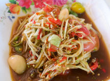 Papaya salad thai food. Thai papaya salad hot and spicy Stock Photos