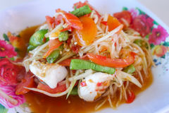 Papaya salad thai food. Thai papaya salad hot and spicy Royalty Free Stock Photography