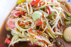 Papaya salad thai food. Thai papaya salad hot and spicy Stock Image