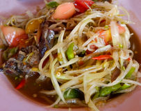 Papaya salad thai food. Thai papaya salad hot and spicy mixed from variety of vegetable Stock Photo