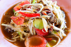 Papaya salad thai food. Thai papaya salad hot and spicy mixed from variety of vegetable Stock Images