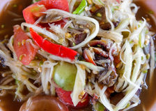 Papaya salad thai food. Thai papaya salad hot and spicy mixed from variety of vegetable Stock Photography