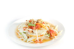 Papaya salad Thai food. Isolate on white background Stock Images