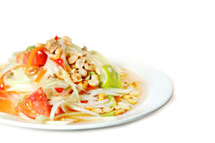 Papaya salad Thai food. Isolate on white background Royalty Free Stock Images