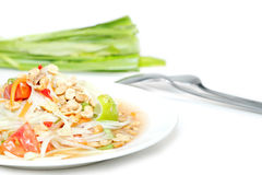 Papaya salad Thai food. Isolate on white background Royalty Free Stock Image