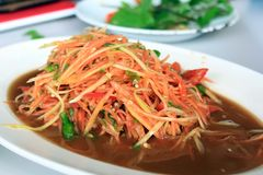Papaya Salad. This is Thai food Papaya Salad for lunch at Loie in Thailand Stock Photography