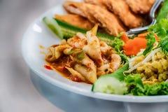 Papaya salad, Thai food in the northeastern provinces of Thailan Royalty Free Stock Photos